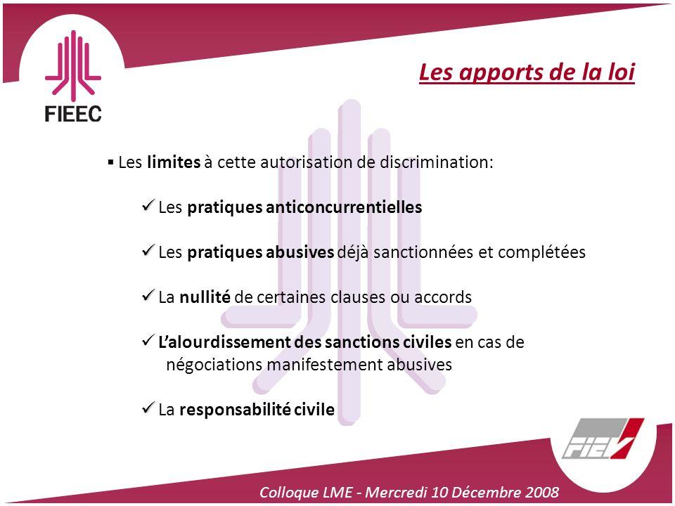 Colloque LME - Mercredi 10 Décembre 2008 Les apports de la loi Les limites à cette autorisation de discrimination: Les pratiques anticoncurrentielles