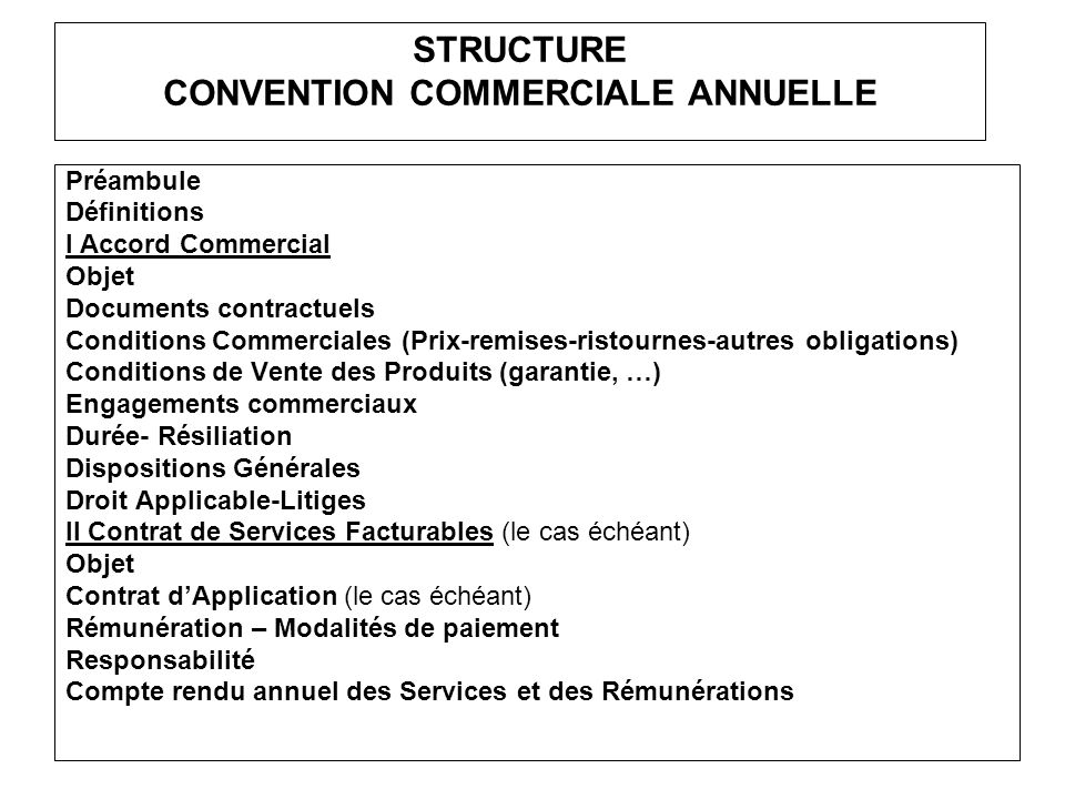 STRUCTURE CONVENTION COMMERCIALE ANNUELLE Préambule Définitions I Accord Commercial Objet Documents contractuels Conditions Commerciales (Prix-remises