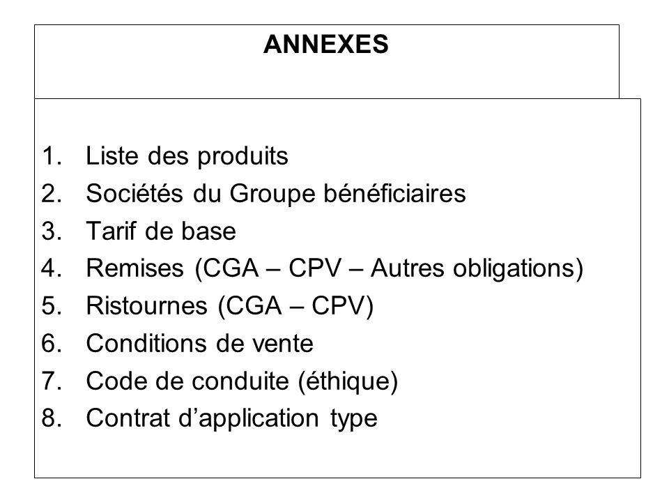 ANNEXES 1.Liste des produits 2.Sociétés du Groupe bénéficiaires 3.Tarif de base 4.Remises (CGA – CPV – Autres obligations) 5.Ristournes (CGA – CPV) 6.