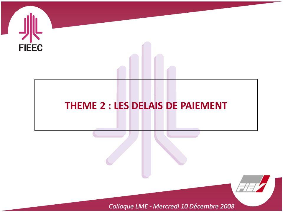 Colloque LME - Mercredi 10 Décembre 2008 THEME 2 : LES DELAIS DE PAIEMENT