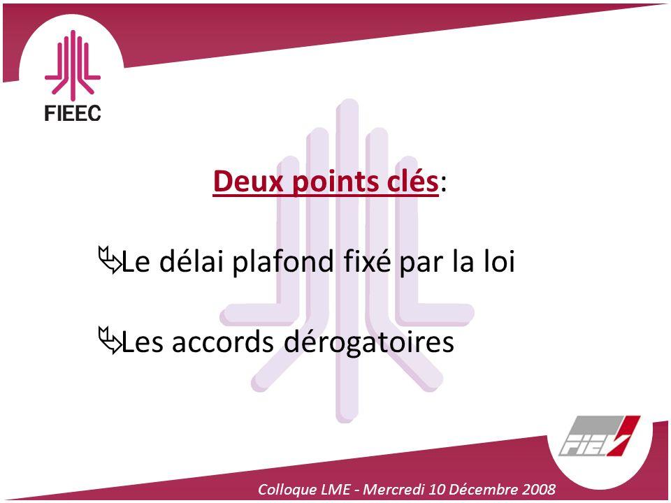 Colloque LME - Mercredi 10 Décembre 2008 Deux points clés: Le délai plafond fixé par la loi Les accords dérogatoires