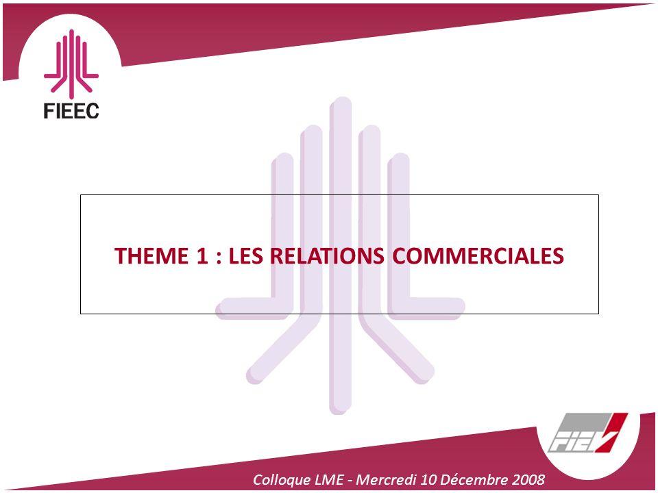 Colloque LME - Mercredi 10 Décembre 2008 THEME 1 : LES RELATIONS COMMERCIALES