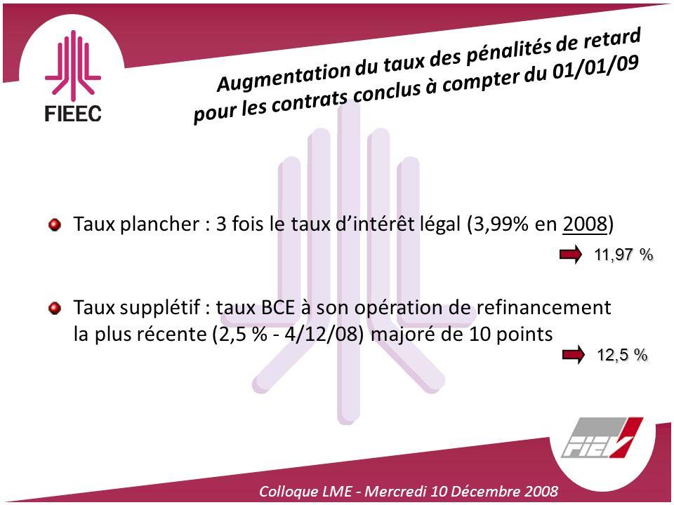 Colloque LME - Mercredi 10 Décembre 2008 Augmentation du taux des pénalités de retard pour les contrats conclus à compter du 01/01/09 Taux plancher :
