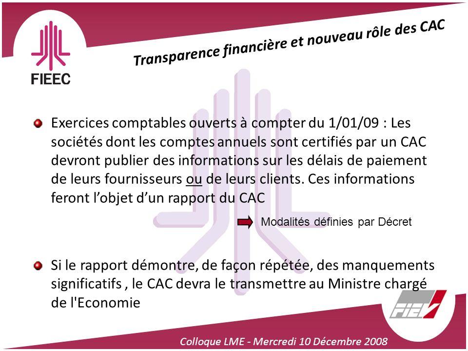 Colloque LME - Mercredi 10 Décembre 2008 Transparence financière et nouveau rôle des CAC Exercices comptables ouverts à compter du 1/01/09 : Les socié