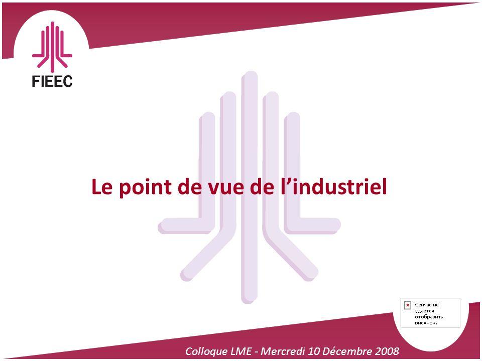 Colloque LME - Mercredi 10 Décembre 2008 Le point de vue de lindustriel