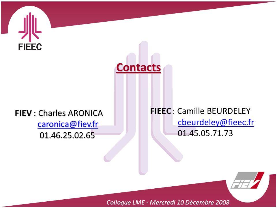 Colloque LME - Mercredi 10 Décembre 2008 Contacts FIEV : Charles ARONICA caronica@fiev.fr caronica@fiev.fr 01.46.25.02.65 01.46.25.02.65 FIEEC : Camil