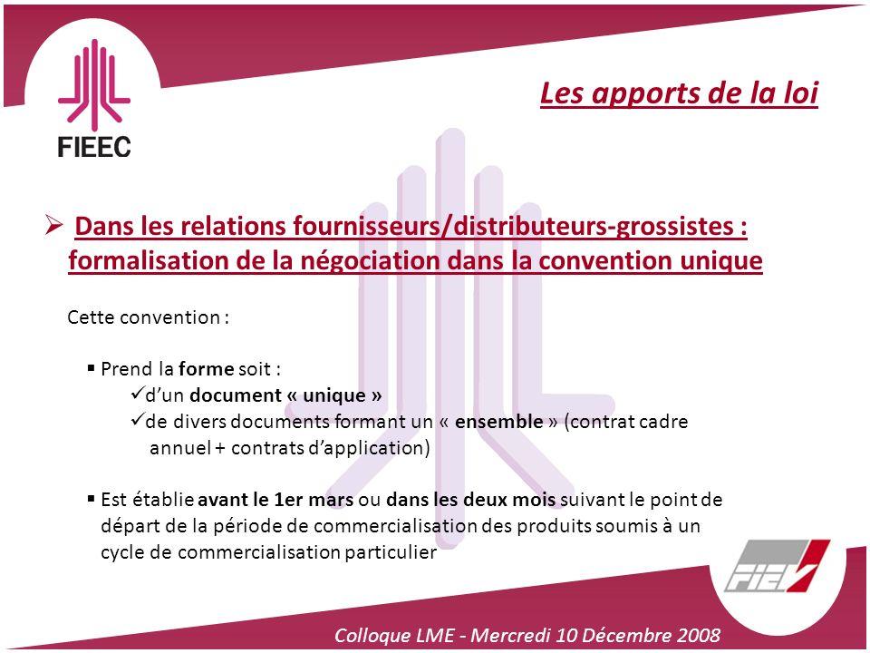 Colloque LME - Mercredi 10 Décembre 2008 Les apports de la loi Dans les relations fournisseurs/distributeurs-grossistes : formalisation de la négociat
