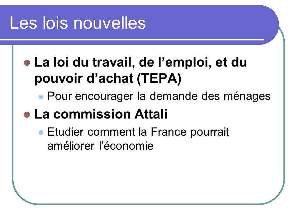 Les lois nouvelles La loi du travail, de lemploi, et du pouvoir dachat (TEPA) Pour encourager la demande des ménages La commission Attali Etudier comm