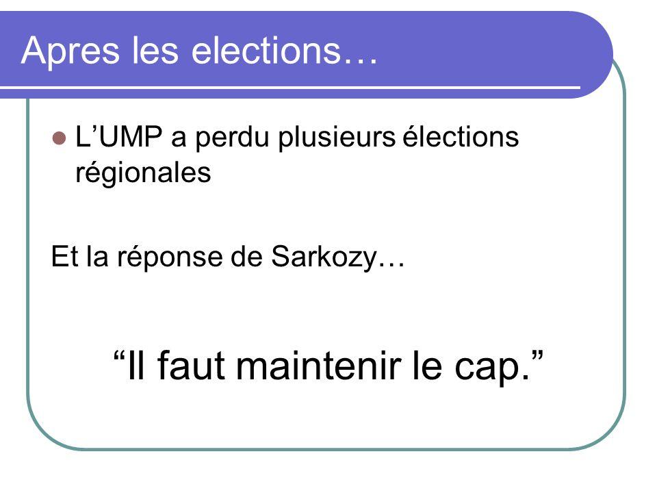 Apres les elections… LUMP a perdu plusieurs élections régionales Et la réponse de Sarkozy… Il faut maintenir le cap.