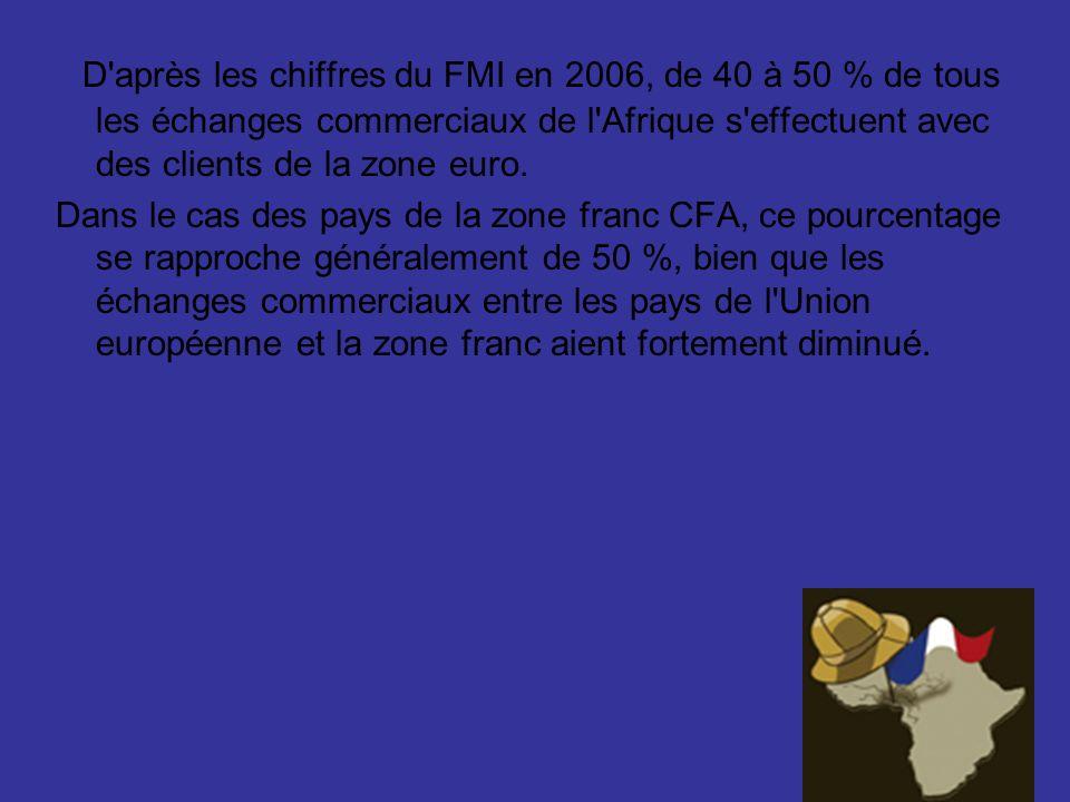 D'après les chiffres du FMI en 2006, de 40 à 50 % de tous les échanges commerciaux de l'Afrique s'effectuent avec des clients de la zone euro. Dans le