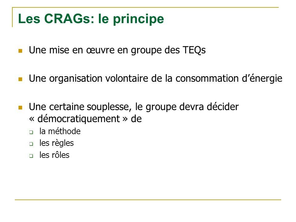 Une mise en œuvre en groupe des TEQs Une organisation volontaire de la consommation dénergie Une certaine souplesse, le groupe devra décider « démocratiquement » de la méthode les règles les rôles Les CRAGs: le principe
