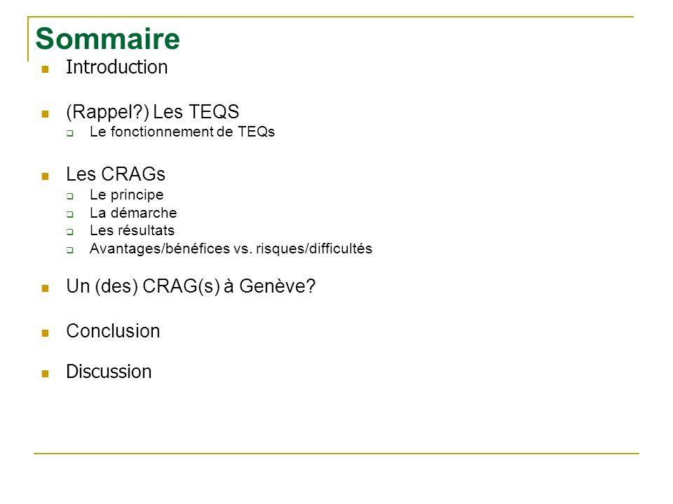 Introduction (Rappel ) Les TEQS Le fonctionnement de TEQs Les CRAGs Le principe La démarche Les résultats Avantages/bénéfices vs.