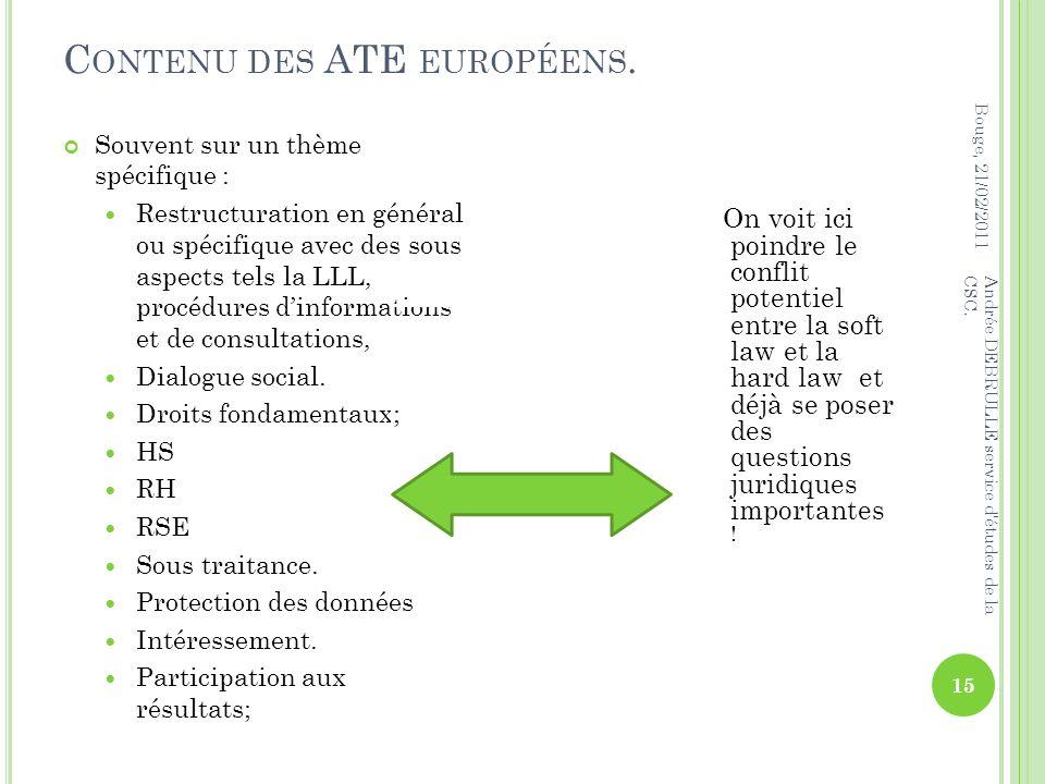 C ONTENU DES ATE EUROPÉENS. Bouge, 21/02/2011 Andrée DEBRULLE service d études de la CSC.
