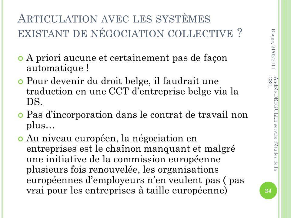A RTICULATION AVEC LES SYSTÈMES EXISTANT DE NÉGOCIATION COLLECTIVE .