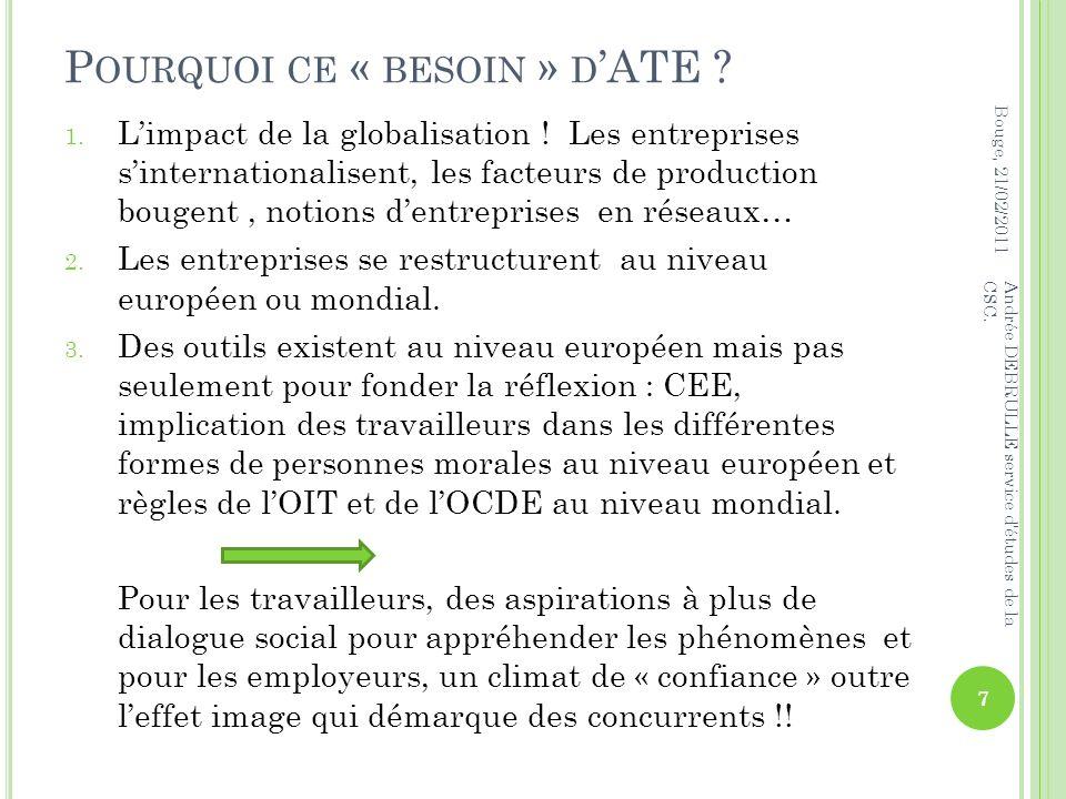 P OURQUOI CE « BESOIN » D ATE . 1. Limpact de la globalisation .