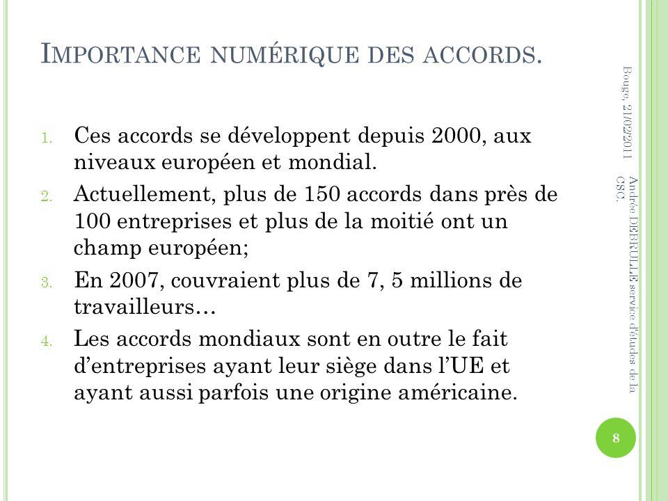 I MPORTANCE NUMÉRIQUE DES ACCORDS. 1.