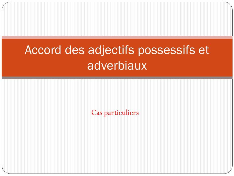 Cas particuliers Accord des adjectifs possessifs et adverbiaux
