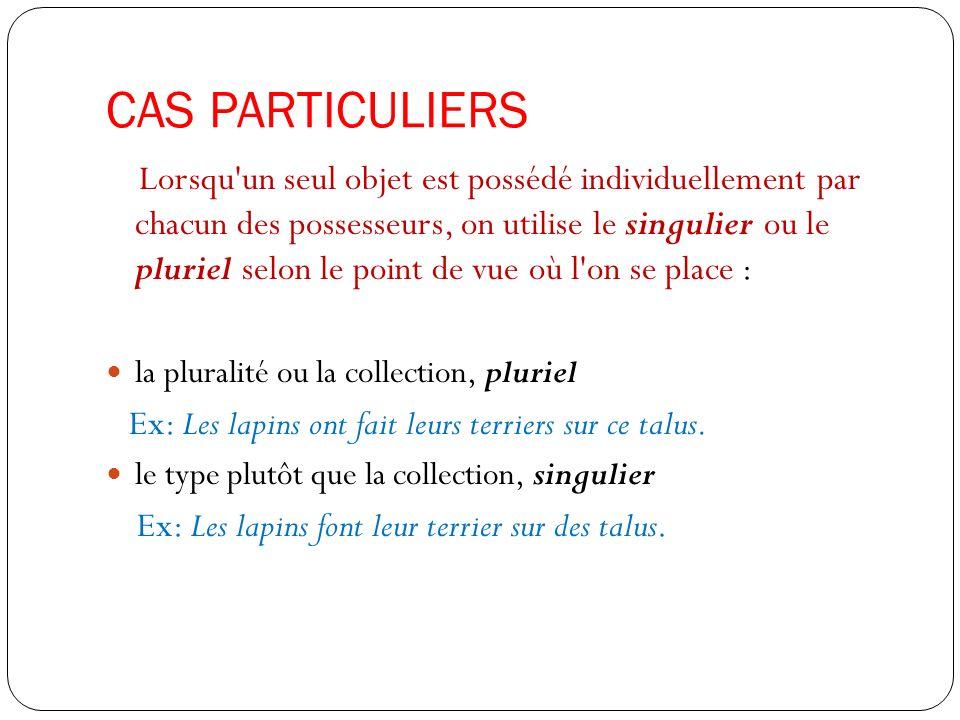 CAS PARTICULIERS Lorsqu'un seul objet est possédé individuellement par chacun des possesseurs, on utilise le singulier ou le pluriel selon le point de