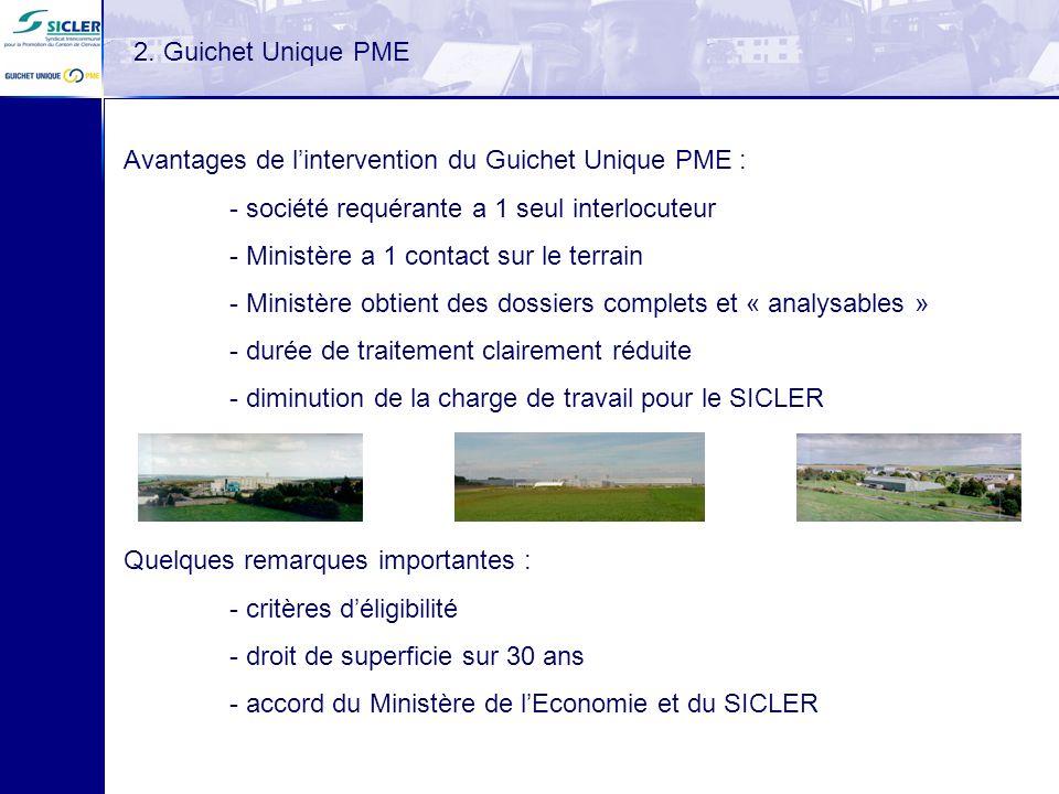 Quelques remarques importantes : - critères déligibilité - droit de superficie sur 30 ans - accord du Ministère de lEconomie et du SICLER 2. Guichet U