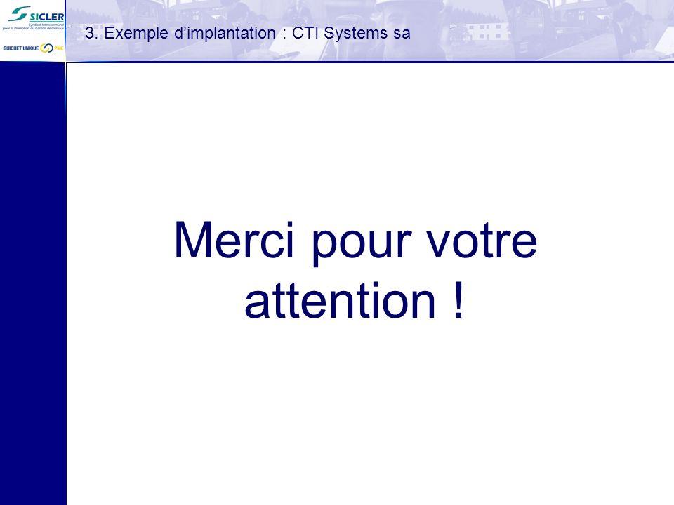 3. Exemple dimplantation : CTI Systems sa Merci pour votre attention !