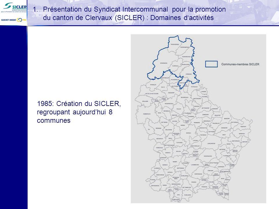 1.Présentation du Syndicat Intercommunal pour la promotion du canton de Clervaux (SICLER) : Domaines dactivités 1985: Création du SICLER, regroupant a