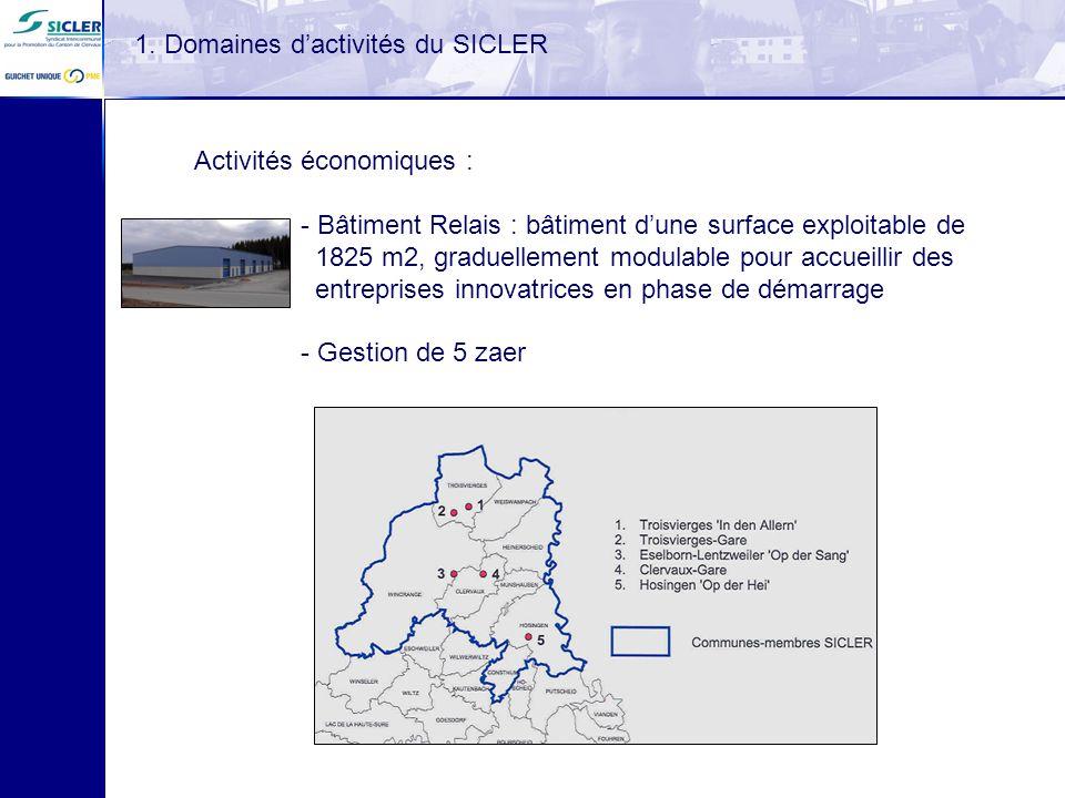 Activités économiques : - Bâtiment Relais : bâtiment dune surface exploitable de 1825 m2, graduellement modulable pour accueillir des entreprises inno