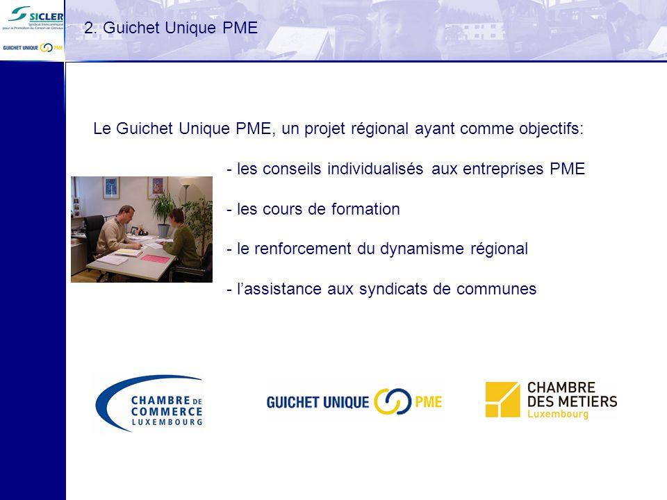 Le Guichet Unique PME, un projet régional ayant comme objectifs: - les conseils individualisés aux entreprises PME - les cours de formation - le renfo