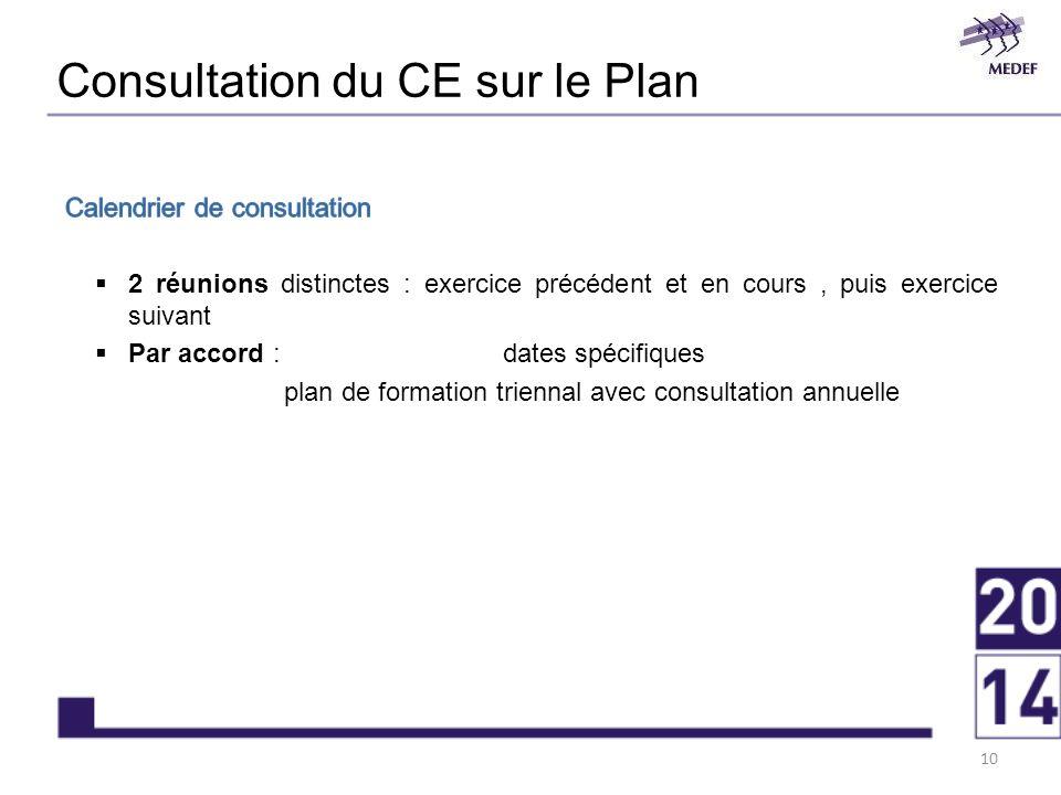 Consultation du CE sur le Plan 10