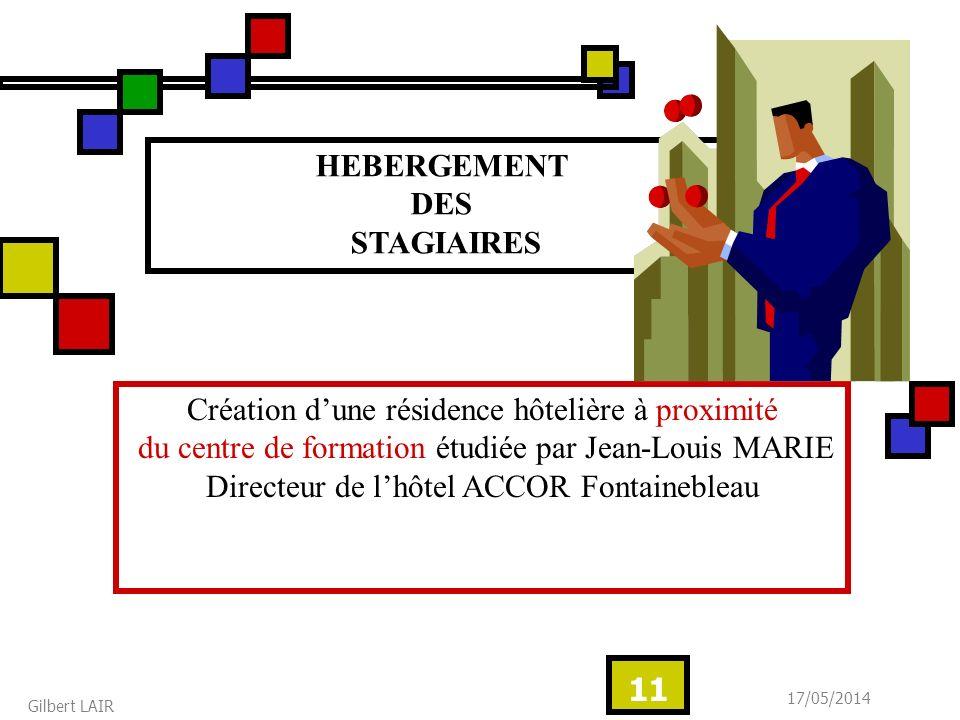 17/05/2014 Gilbert LAIR 11 HEBERGEMENT DES STAGIAIRES Création dune résidence hôtelière à proximité du centre de formation étudiée par Jean-Louis MARI