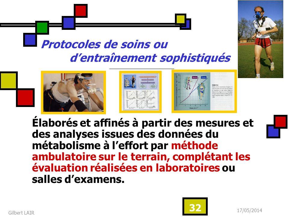 17/05/2014 Gilbert LAIR 32 Protocoles de soins ou dentraînement sophistiqués Élaborés et affinés à partir des mesures et des analyses issues des donné