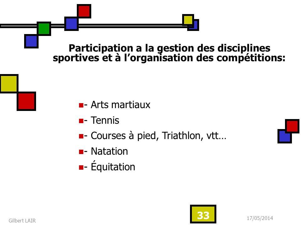 17/05/2014 Gilbert LAIR 33 Participation a la gestion des disciplines sportives et à lorganisation des compétitions: - Arts martiaux - Tennis - Course