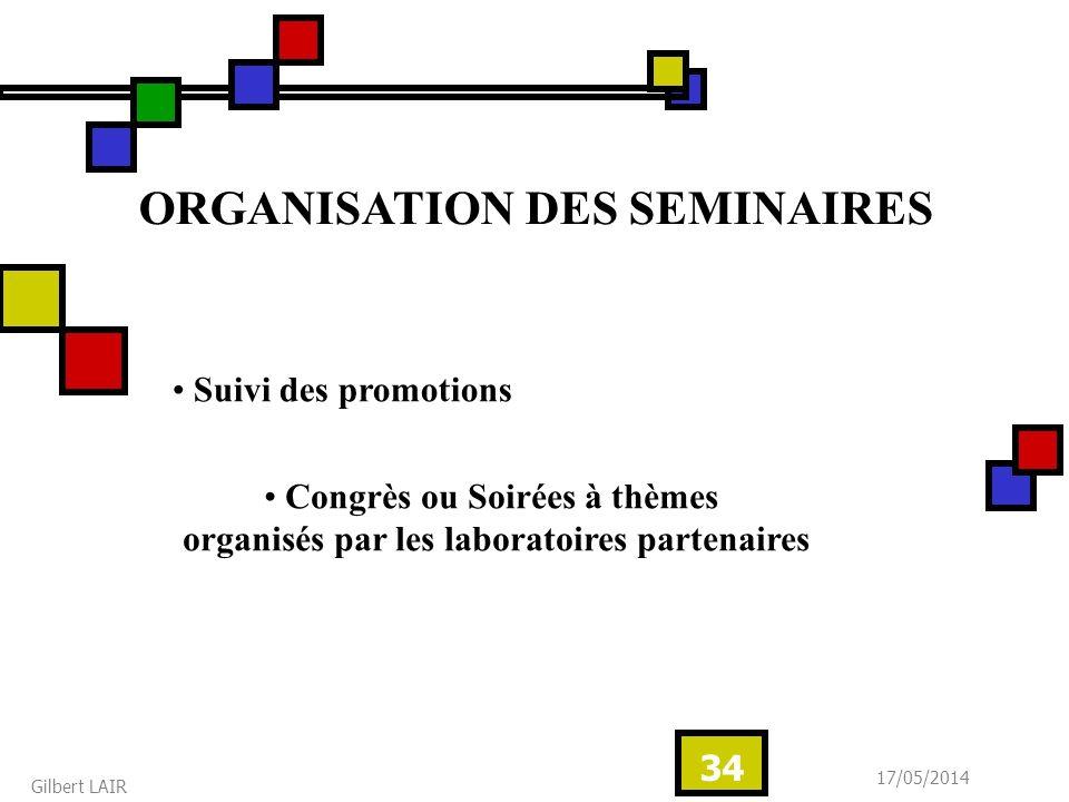 17/05/2014 Gilbert LAIR 34 ORGANISATION DES SEMINAIRES Suivi des promotions Congrès ou Soirées à thèmes organisés par les laboratoires partenaires