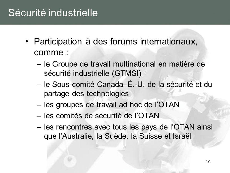10 Sécurité industrielle Participation à des forums internationaux, comme : –le Groupe de travail multinational en matière de sécurité industrielle (G