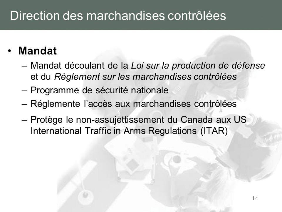 14 Direction des marchandises contrôlées Mandat –Mandat découlant de la Loi sur la production de défense et du Règlement sur les marchandises contrôlé