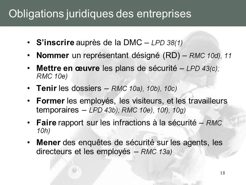 18 Obligations juridiques des entreprises Sinscrire auprès de la DMC – LPD 38(1) Nommer un représentant désigné (RD) – RMC 10d), 11 Mettre en œuvre le