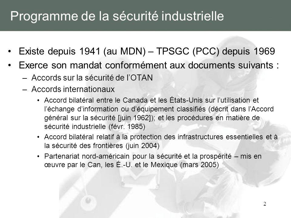 2 Programme de la sécurité industrielle Existe depuis 1941 (au MDN) – TPSGC (PCC) depuis 1969 Exerce son mandat conformément aux documents suivants :