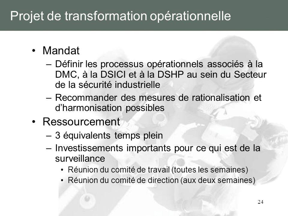 24 Projet de transformation opérationnelle Mandat –Définir les processus opérationnels associés à la DMC, à la DSICI et à la DSHP au sein du Secteur d