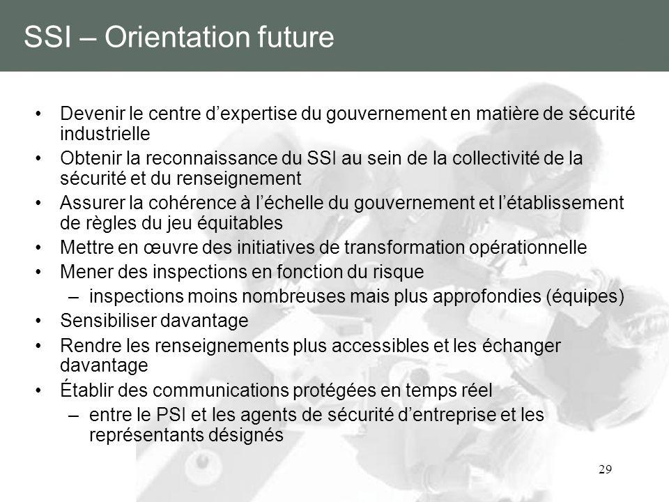 29 SSI – Orientation future Devenir le centre dexpertise du gouvernement en matière de sécurité industrielle Obtenir la reconnaissance du SSI au sein