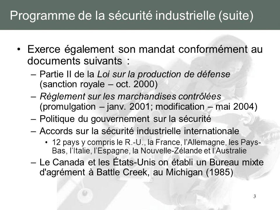 3 Programme de la sécurité industrielle (suite) Exerce également son mandat conformément au documents suivants : –Partie II de la Loi sur la productio