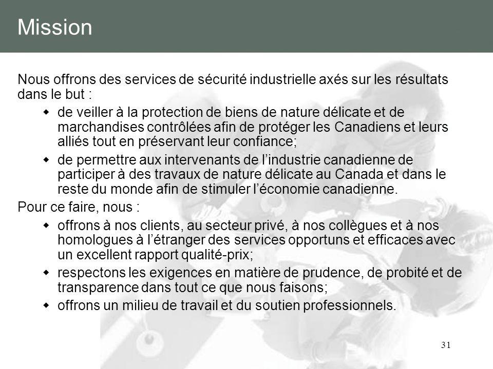 31 Mission Nous offrons des services de sécurité industrielle axés sur les résultats dans le but : de veiller à la protection de biens de nature délic