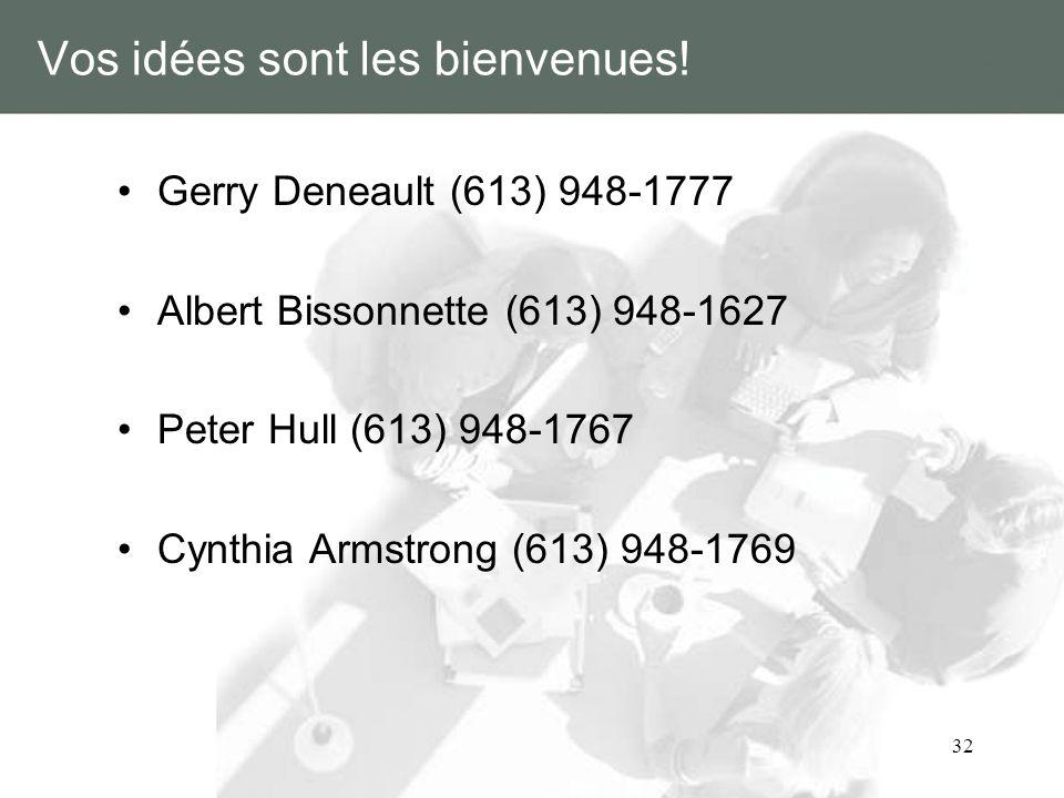 32 Vos idées sont les bienvenues! Gerry Deneault (613) 948-1777 Albert Bissonnette (613) 948-1627 Peter Hull (613) 948-1767 Cynthia Armstrong (613) 94