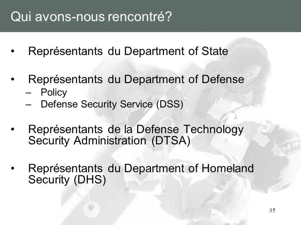 35 Qui avons-nous rencontré? Représentants du Department of State Représentants du Department of Defense –Policy –Defense Security Service (DSS) Repré