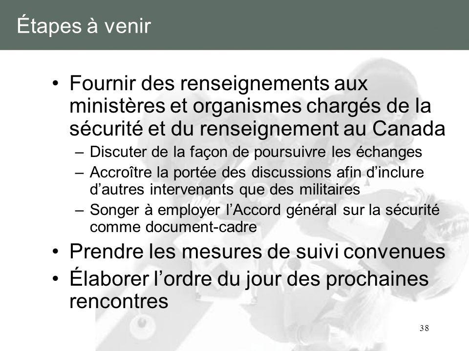 38 Étapes à venir Fournir des renseignements aux ministères et organismes chargés de la sécurité et du renseignement au Canada –Discuter de la façon d