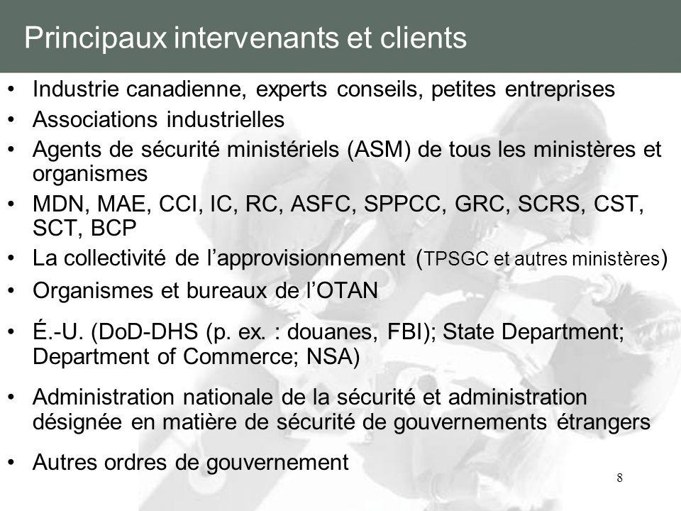 8 Principaux intervenants et clients Industrie canadienne, experts conseils, petites entreprises Associations industrielles Agents de sécurité ministé