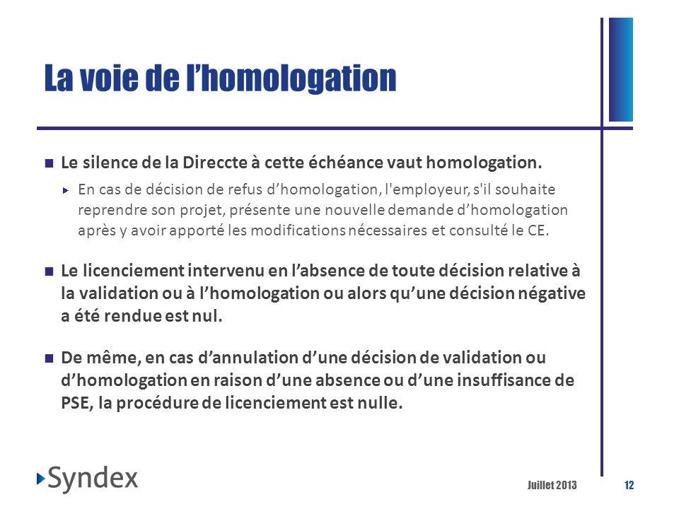 Juillet 201312 La voie de lhomologation Le silence de la Direccte à cette échéance vaut homologation. En cas de décision de refus dhomologation, l'emp