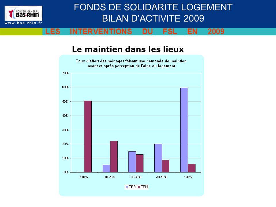 Le maintien dans les lieux Séminaire des cadres du 19 novembre 2009 FONDS DE SOLIDARITE LOGEMENT BILAN DACTIVITE 2009 LES INTERVENTIONS DU FSL EN 2009