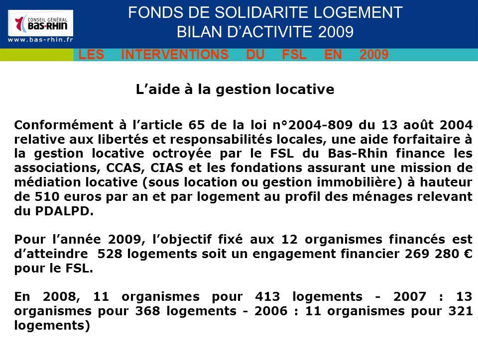 Laide à la gestion locative Séminaire des cadres du 19 novembre 2009 FONDS DE SOLIDARITE LOGEMENT BILAN DACTIVITE 2009 LES INTERVENTIONS DU FSL EN 2009 Conformément à larticle 65 de la loi n°2004-809 du 13 août 2004 relative aux libertés et responsabilités locales, une aide forfaitaire à la gestion locative octroyée par le FSL du Bas-Rhin finance les associations, CCAS, CIAS et les fondations assurant une mission de médiation locative (sous location ou gestion immobilière) à hauteur de 510 euros par an et par logement au profil des ménages relevant du PDALPD.