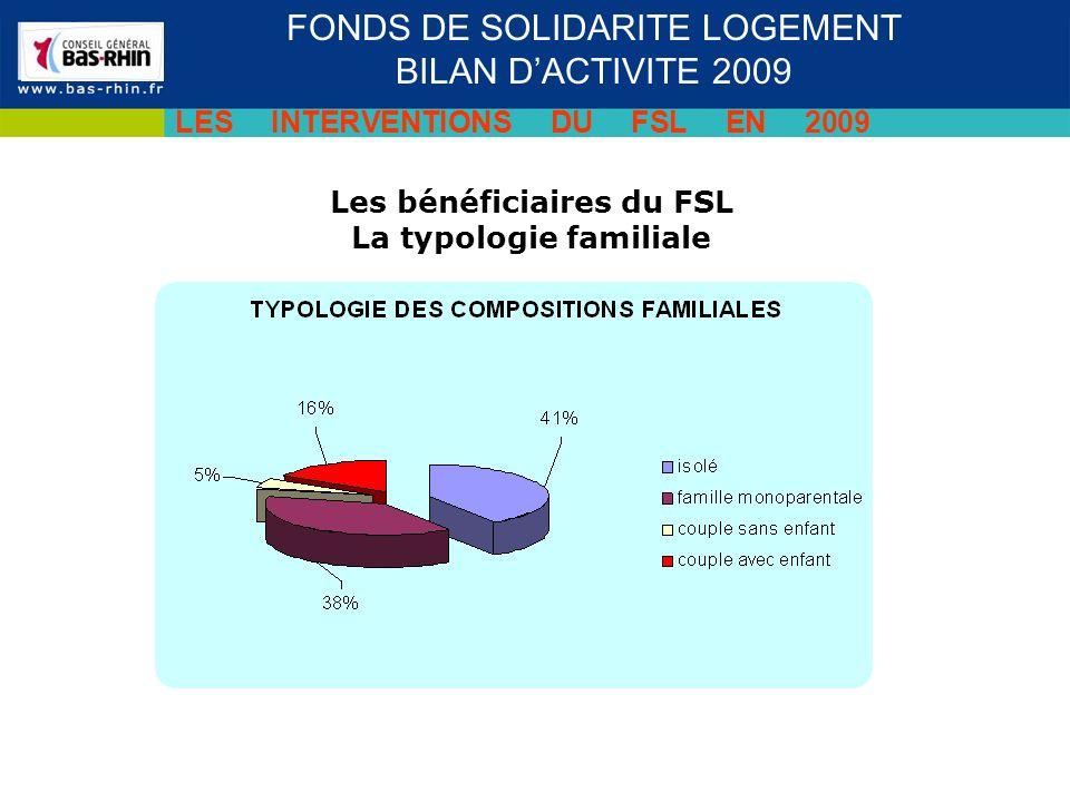 Les bénéficiaires du FSL La typologie familiale FONDS DE SOLIDARITE LOGEMENT BILAN DACTIVITE 2009 LES INTERVENTIONS DU FSL EN 2009