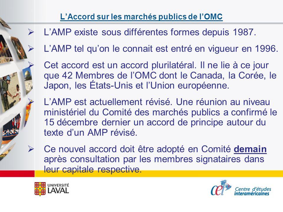 LAccord sur les marchés publics de lOMC LAMP existe sous différentes formes depuis 1987. LAMP tel quon le connait est entré en vigueur en 1996. Cet ac