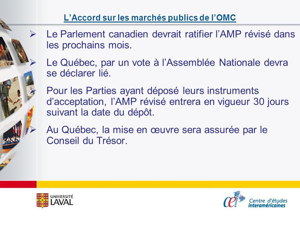 LAccord sur les marchés publics de lOMC Le Parlement canadien devrait ratifier lAMP révisé dans les prochains mois. Le Québec, par un vote à lAssemblé